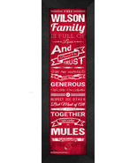 "Personalized Central Missouri Mules ""Family Cheer"" 24 x 8 Framed Print - $39.95"