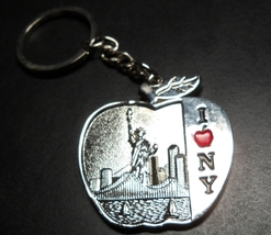 I Heart New York Key Chain Big Apple Theme Metal I Love New York Red Apple - $7.99