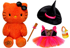 Build a Bear Orange Hello Kitty Halloween Witch 4pc. Costume 18in. Stuff... - $169.95