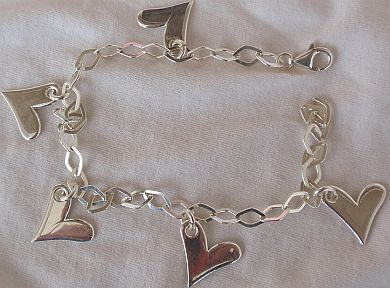 Silver hearts anklet 1