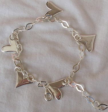 Silver hearts anklet