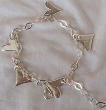 Silver hearts anklet thumb200