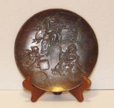 Antique Japanese Relief Bronze Plate  Geisha, Kabuki Dancer, Musician