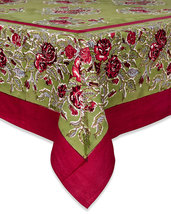 """Couleur Nature  Rose Tablecloth 59"""" x 59"""" Red-Green  - €58,50 EUR"""