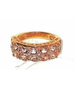 Pink Morganite Band Ring Yellow Gold Silver  2.56 carats Size 6  - $103.93