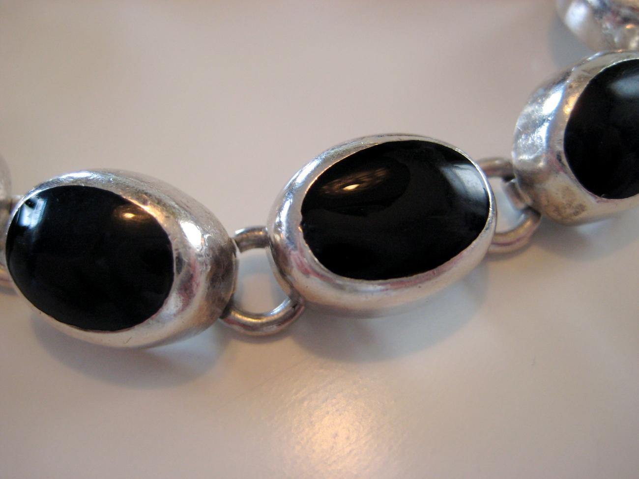 Black Onyx Sterling Silver .925 Bracelet