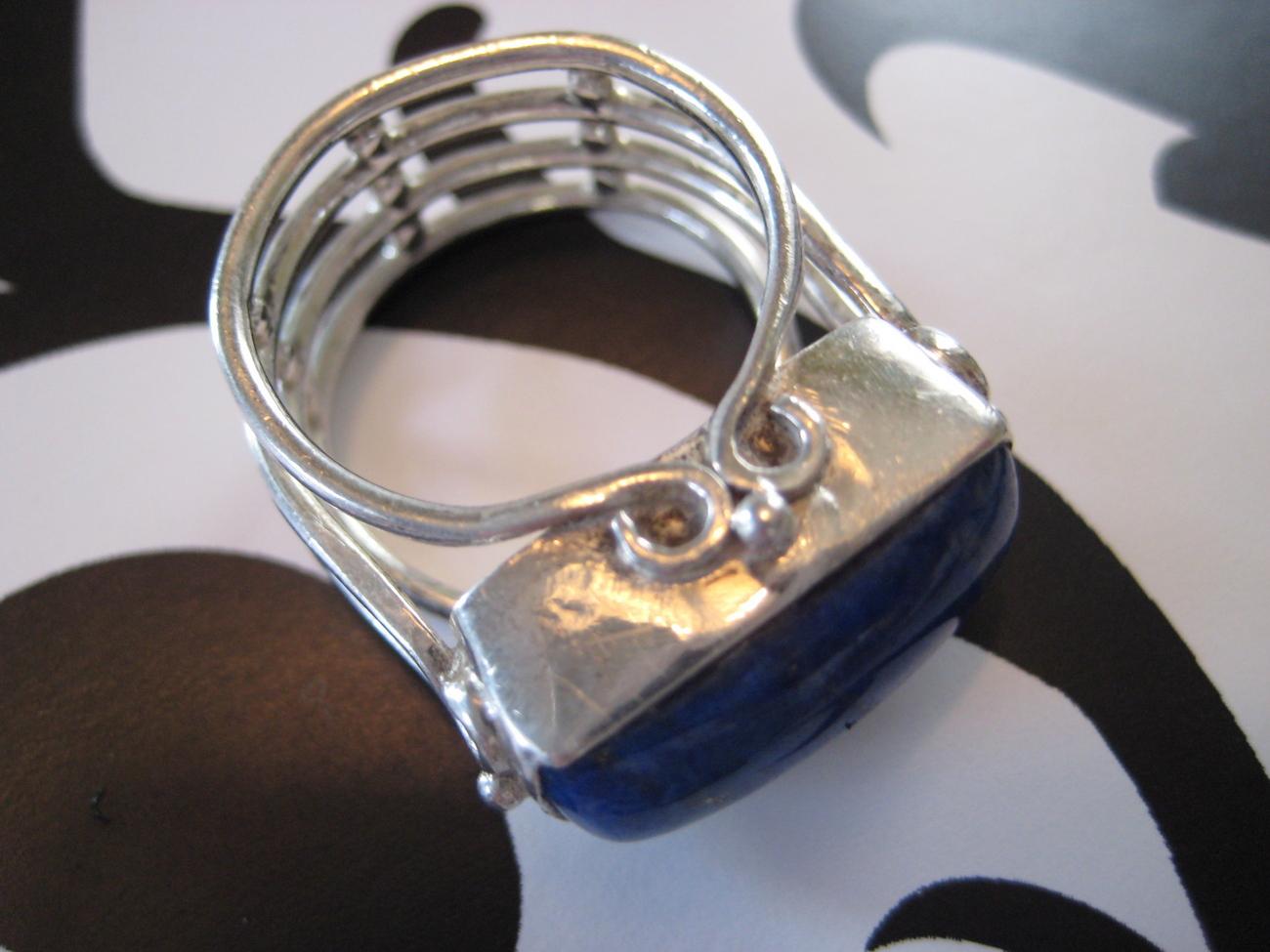 Cocktail .925 Sterling Silver Lapis Lazuli Ring Sz 6.5
