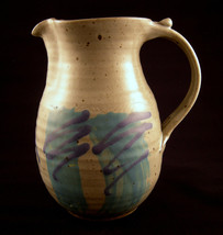 Studio Art Pottery Colonial Pitcher Stoneware Matte Glazed Signed - $49.00