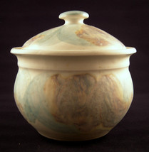 Studio Art Pottery Lidded Bowl Molded Clay Matte Glaze Signed KS - $49.00