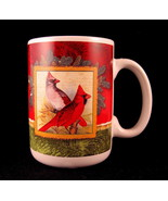 Christmas Cardinal Mug Ceramic Pine Branches Red and Green by Jay - $26.72