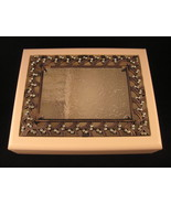 Jewelry Box Cutwork Antique Brass Green Faux Crystals Textured Glass Ivo... - $44.54