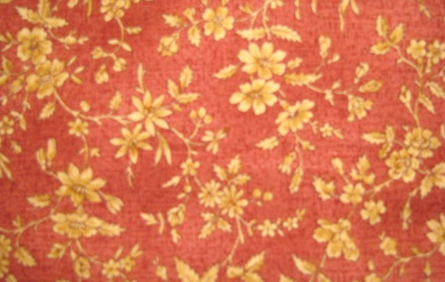 Benartex Kaye England Gold Flowers on Rose/Rust fabric  Style 1325 Cotton Fabric