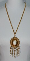 VENDOME Gold Tone Etruscan White Lucite Dangle Bead Runway Medallion Nec... - $98.99