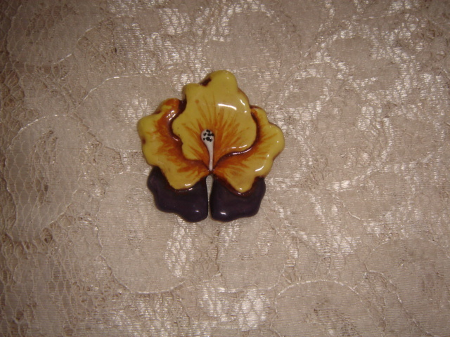 Ceramic Pin  Pansy