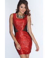 nwot sexy red mesh sequin stretch bodycon sheer mini dress size medium 6 8 - $24.74
