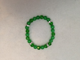 Swarovski Crystal Stretchy Bracelet in Green Turma and Cat's Eye - $14.99