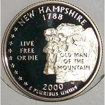 2000-S Clad Proof New Hampshire State Quarter PF65DC #422 - $2.39