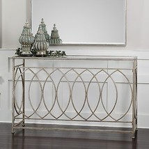 "NEW 60"" ANTIQUED SILVER LEAF SCROLL WORK METAL SOFA CONSOLE HALL TABLE G... - $745.80"