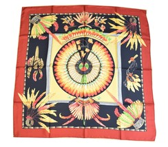 """Hermes Scarf BRAZIL by Laurence Bourthoumieux Silk 90 cm Red 35"""" Carre S... - $246.51"""