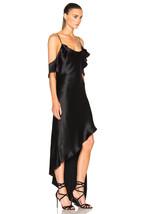 NWT Juan Carlos Obando Spiral Ruffle Black Satin Off Shoulder Gown Dress 4 - $599.99