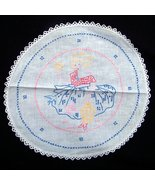 "Vtg 1940s embroidered linen doily with little girl and birds 17"" handmad... - $19.95"