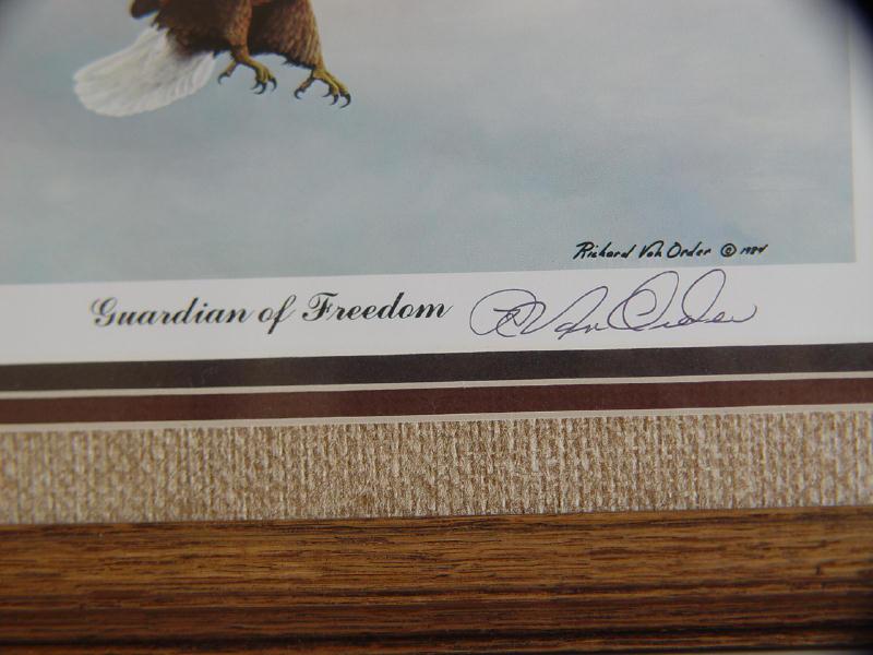 """Framed, Signed """"Guardian of Freedom"""" Eagle Print By Richard Van Order"""