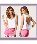 Vintage Torn Heart Backless Cotton Short Sleeveless T-Shirt in Six Choic... - $27.95