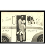 Milkman Photograph Milk Bottles Delivery Truck Hillside Farm Logo Bib Ov... - $19.99