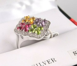 Size 8 Sterling Silver Multi Flower Cubic Zirconia Cluster Ring New w Tags
