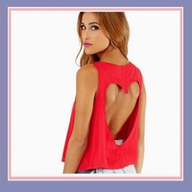 Vintage Torn Heart Backless Cotton Short Sleeveless T-Shirt in Six Choice Colors image 3