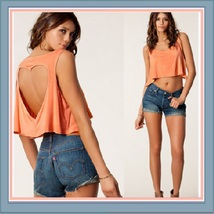 Vintage Torn Heart Backless Cotton Short Sleeveless T-Shirt in Six Choice Colors image 4