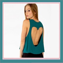 Vintage Torn Heart Backless Cotton Short Sleeveless T-Shirt in Six Choice Colors image 6