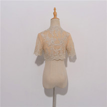 Champagne Gold Lace Wedding Shrugs Boleros Short Sleeve Wedding Guest Cover Ups image 3