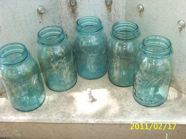 VTG Quart/QT Blue Glass Canning JARS~Ball Perfect Mason~Wedding/Craft #2... - $32.99