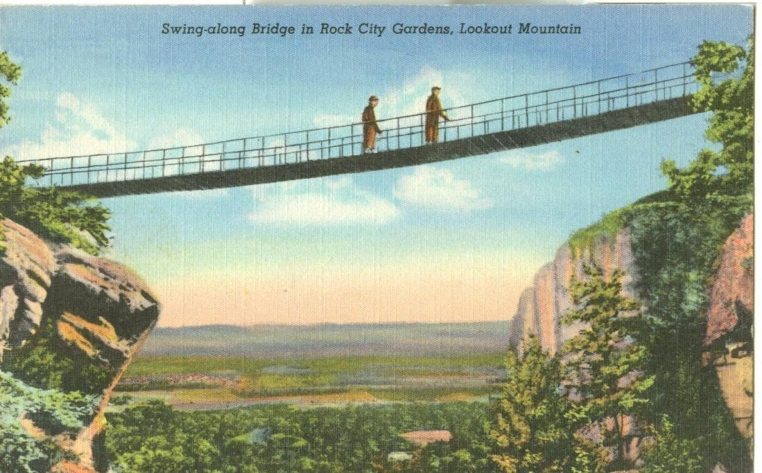 Swing-along Bridge in Rock City Gardens, Lookout Mountain, unused linen Postcard
