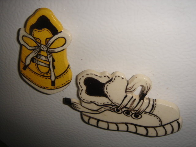2 ceramic magnets   old sneaker