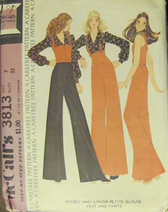 McCall's 3813 Blouse Vest Flared Pants Misses 10 1973 Bonanza