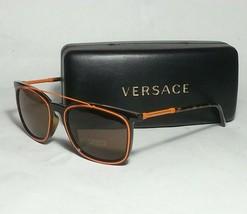 Versace Mod 4335 Men Sunglasses Brown with Orange Rectangular New with c... - $223.05
