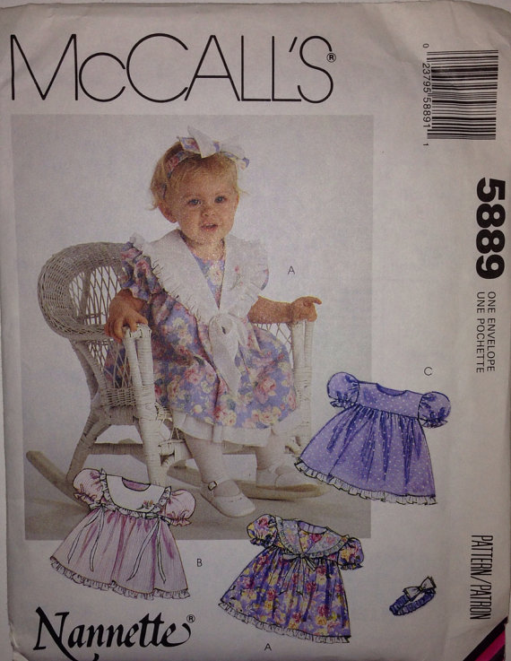 McCall's 5889 Nannette Dress Headband Infants 1992 Bonanza
