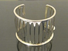 Vintage Mexican Sterling Silver Heavy Cuff Bracelet 6 1/2'' Length - $215.00
