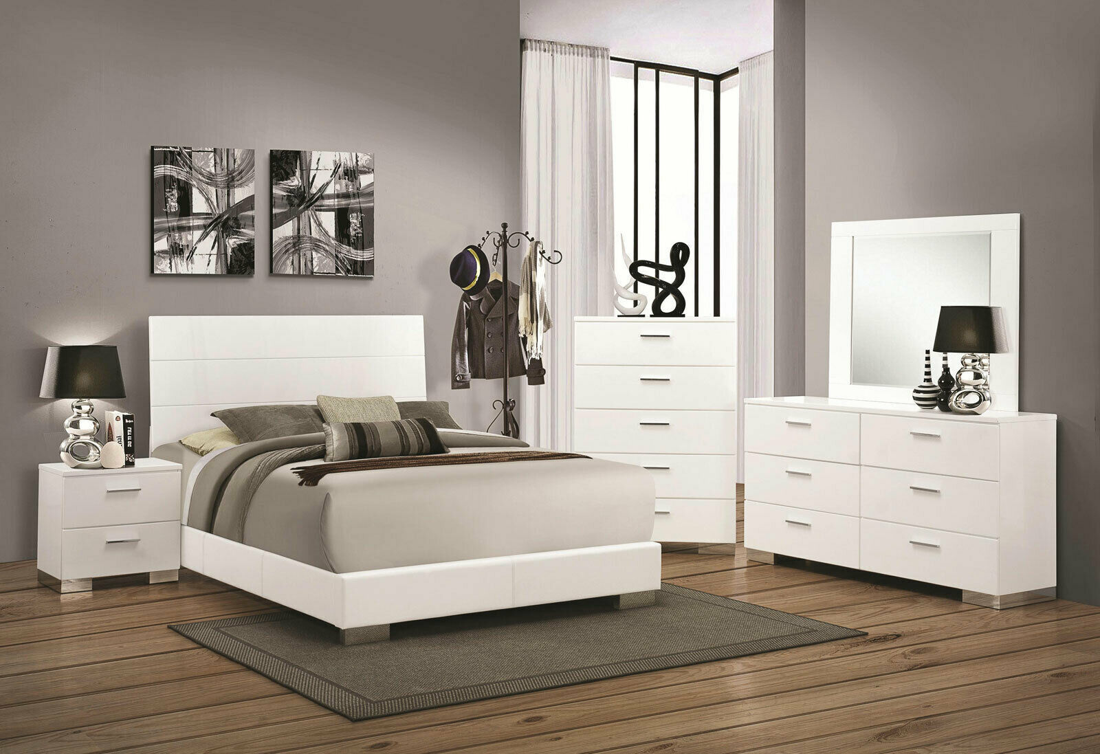VOLGA 5 pieces Ultra Modern White Finish Bedroom Suite w ...