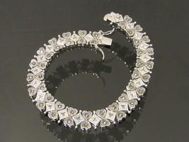 Vintage Modernist Sterling Silver White Topaz & Marcasite Bracelet 8 1/2... - $135.00