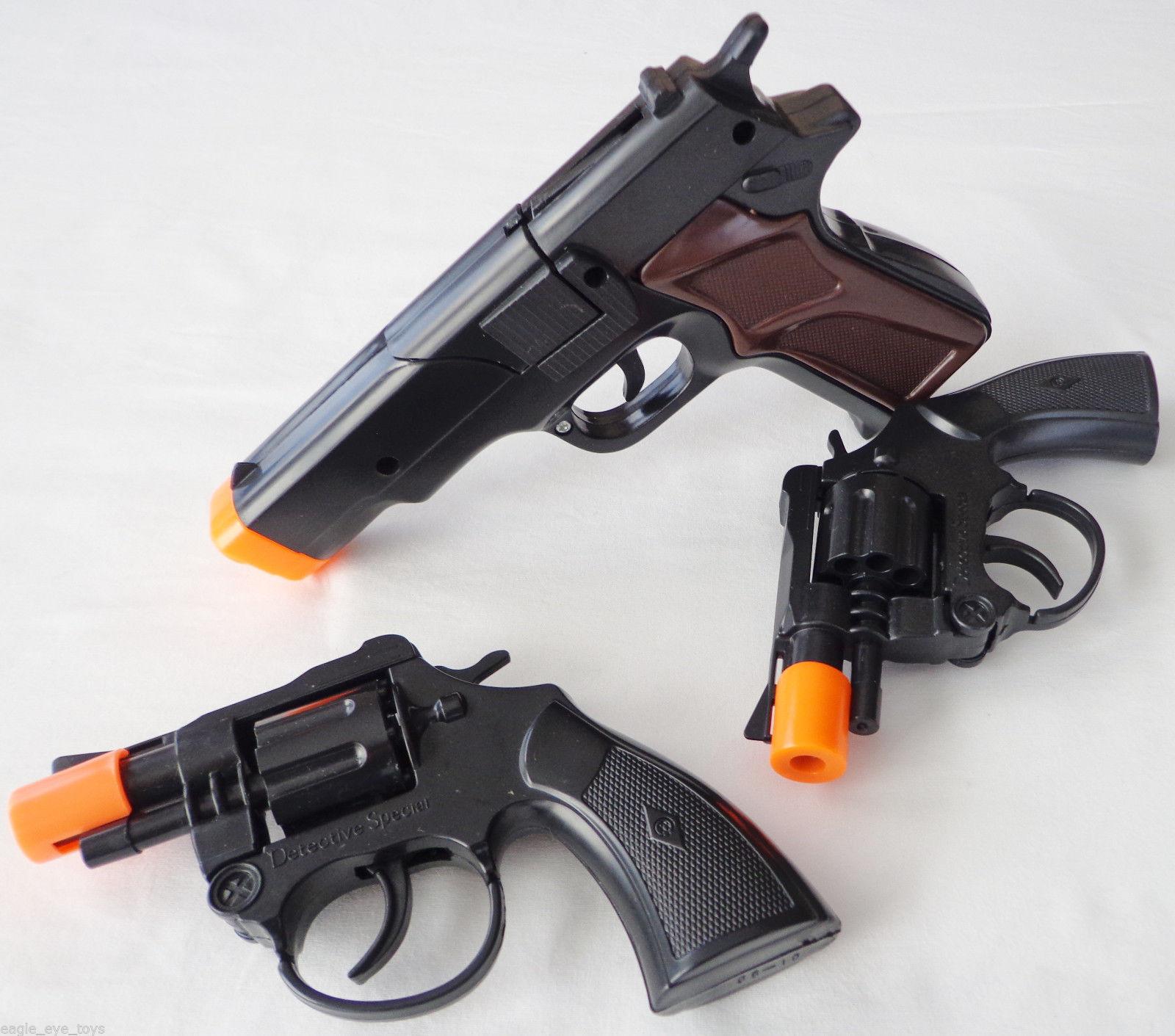 Toy Guns Military Detective Black 9MM Pistol Snub-nosed Revolver 3x Cap Gun Set