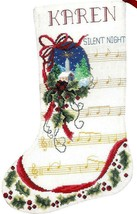 Janlynn Silent Night Music Notes Christmas Song Cross Stitch Stocking Ki... - $32.95