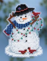 Snow Fun Winter Holiday 2014 Seasonal ornament pin kit cross stitch Mill Hill - $6.30