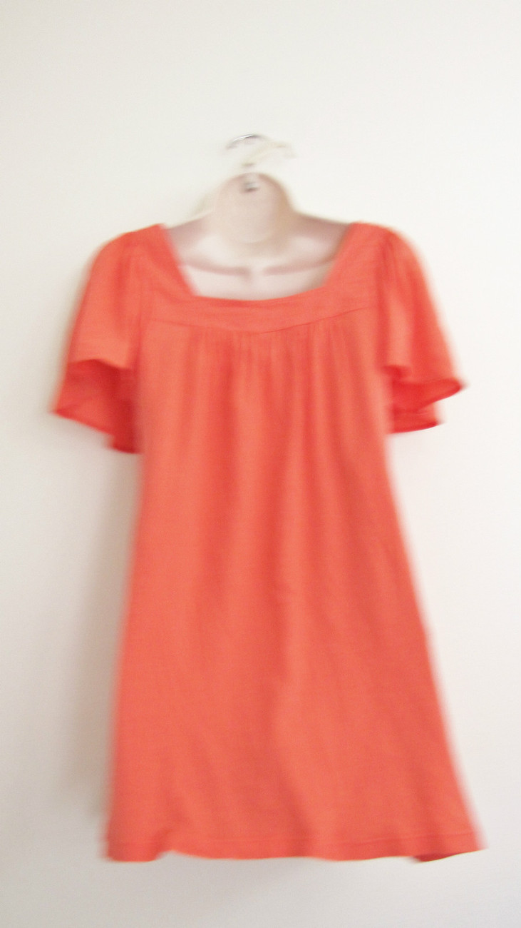 NWT EMMA&SAM LF STORES KNIT COTTON FASHION PEASANT TOP DRESS,XS X-SMALL,TOMATO