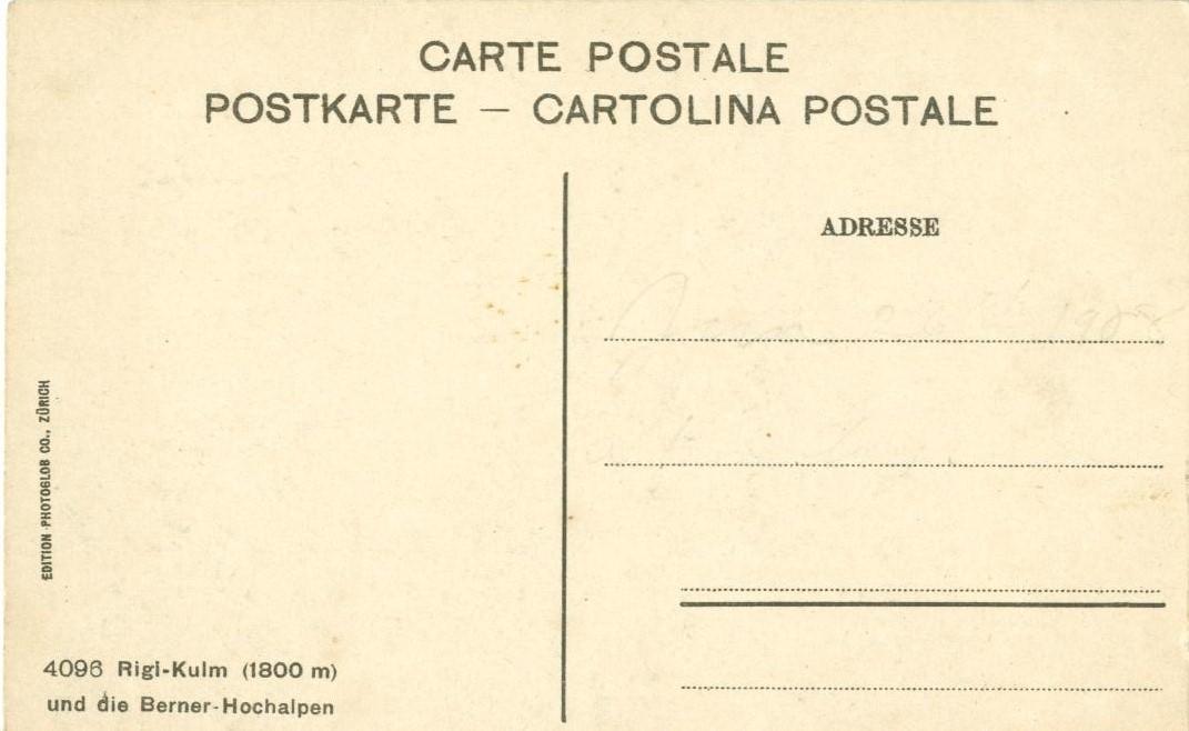Switzerland, Rigi-Kulm und die Berner-Hochalpen, early 1900s unused Postcard