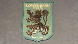 Lowenbrau Munich Since 1383 Blue & Gold Beer Sign 1969 - $35.00