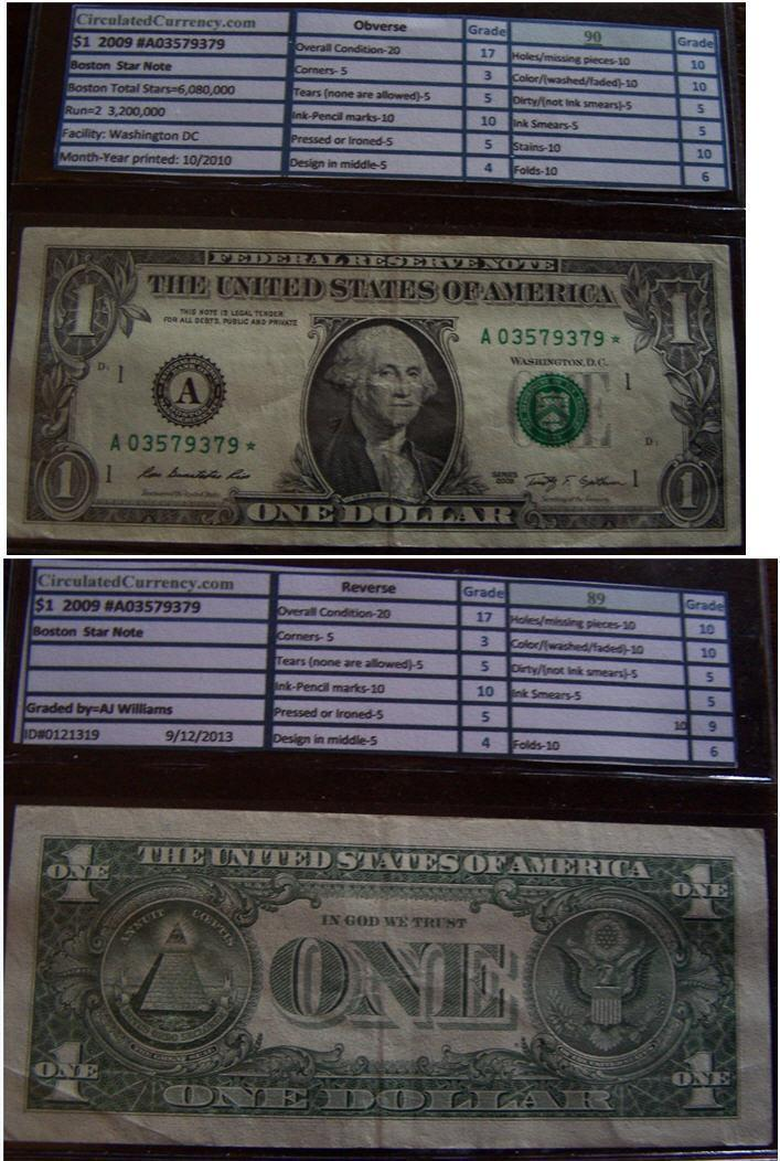 2009 $1 Federal Reserve STAR Note A03579379