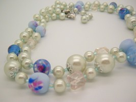 Japan 2 strand floral glass and Plastic blue beads Vtg necklace wedding ... - $24.70